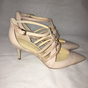 Ivanka Trump Leather Ankle Strap Heels Pumps 9.5